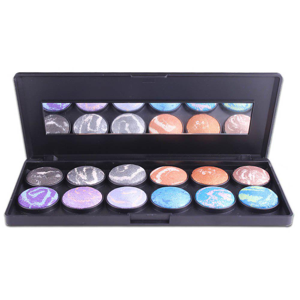 MISS ROSE 12 Color Black Plastic Shell Printing White Pattern Makeup Eyeshadow -