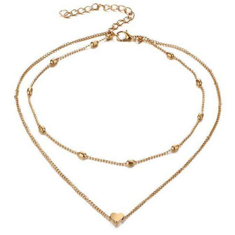 Ladies Fashion Simple Hearts Multilayer Necklace - GOLD