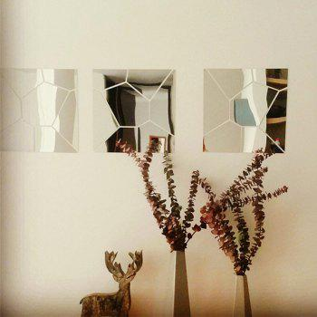 Mirror Wall Stickers Crack Geometrical Shape Crystal Mirrored Decorative Tiles - COOL WHITE 25CM X 25CM