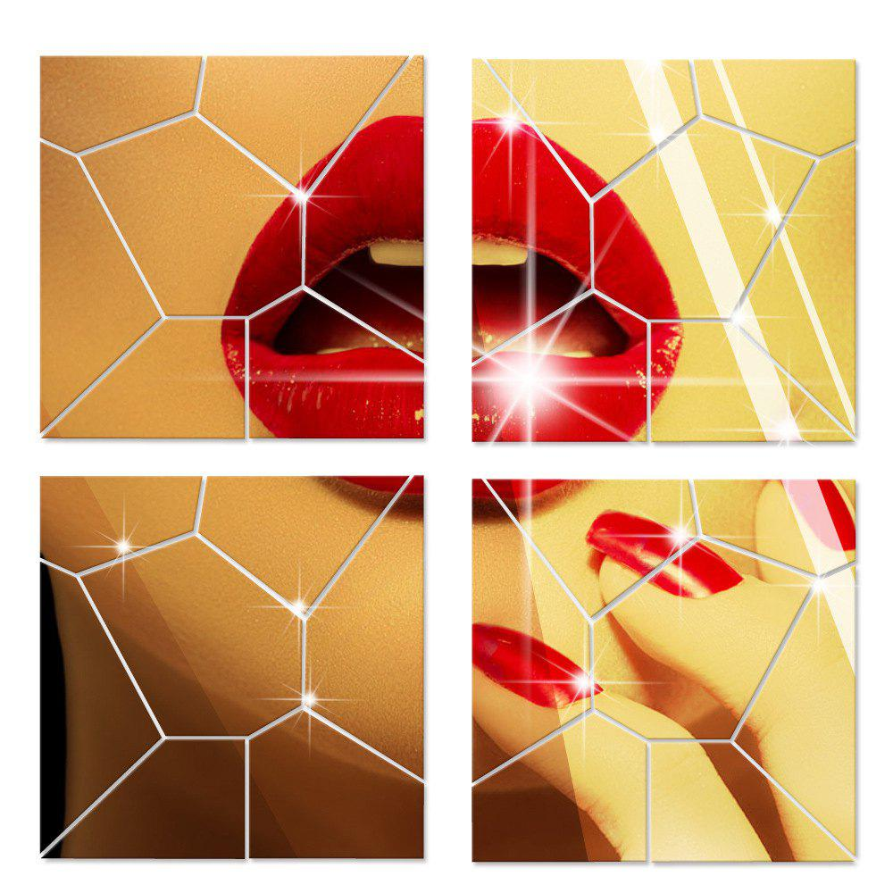 Mirror Wall Stickers Crack Geometrical Shape Crystal Mirrored Decorative Tiles - GOLDEN BROWN 30CM X 30CM