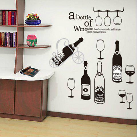 New Wine Bottle Wall Sticker Kitchen Room Decoration Decal - BLACK
