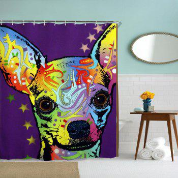 Watercolor Deer Water-Proof Polyester 3D Printing Bathroom Shower Curtain - multicolor A W71 INCH * L79 INCH