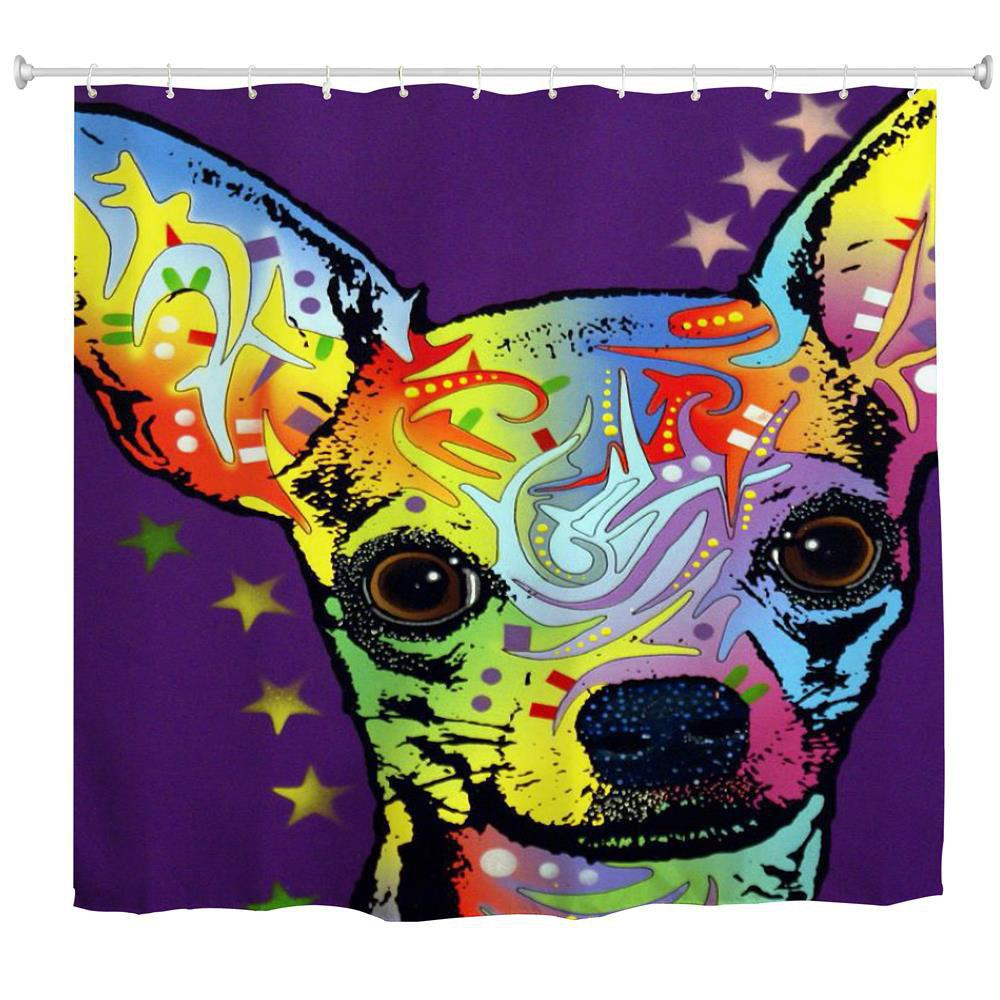 Watercolor Deer Water-Proof Polyester 3D Printing Bathroom Shower Curtain - multicolor A W59 INCH * L71 INCH