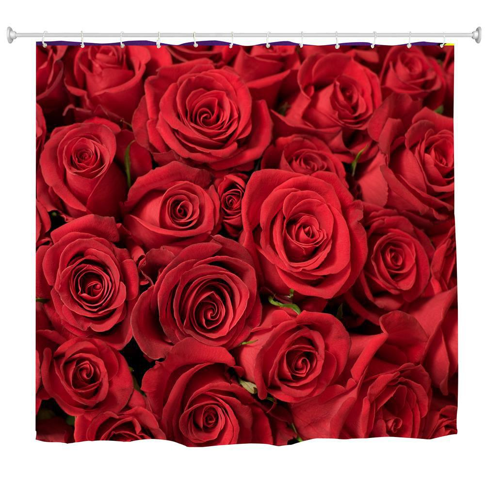 Red Rose Water-Proof Polyester 3D Printing Bathroom Shower Curtain - multicolor A W71 INCH * L79 INCH