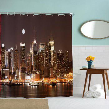 Midnight Manhattan Water-Proof Polyester 3D Printing Bathroom Shower Curtain - multicolor A W71 INCH * L79 INCH