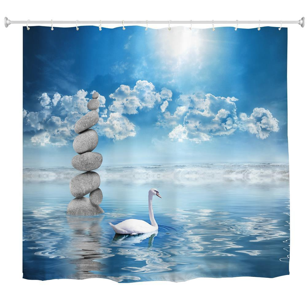 The Swan in The Water Water-Proof Polyester 3D Printing Bathroom Shower Curtain - multicolor A W71 INCH * L71 INCH