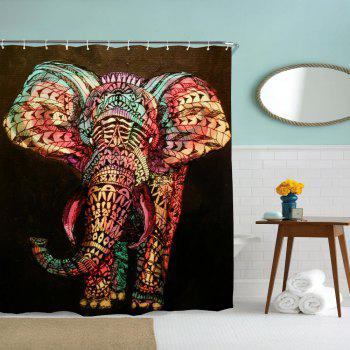 Oil Painting Elephant Water-Proof Polyester 3D Printing Bathroom Shower Curtain - multicolor A W71 INCH * L79 INCH