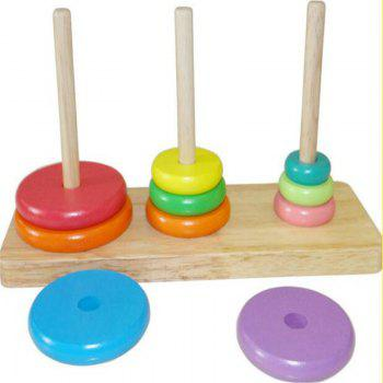Tower of Hanoi Educational Wooden Classic Mathematical Puzzle Toys - multicolor