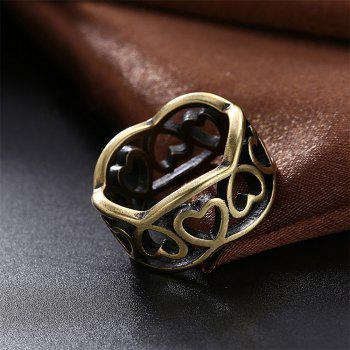 Vintage Hollow Out Heart Shape Ring Charm Jewelry - BRONZE US SIZE 7