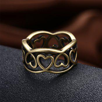 Vintage Hollow Out Heart Shape Ring Charm Jewelry - BRONZE US SIZE 8