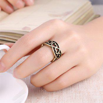 Vintage Hollow Out Heart Shape Ring Charm Jewelry - BRONZE US SIZE 9