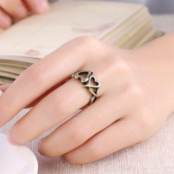 Vintage Hollow Out Double Heart Ring Charm Jewelry - BRONZE US SIZE 7