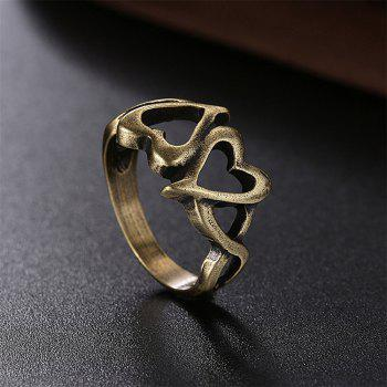 Vintage Hollow Out Double Heart Ring Charm Jewelry - BRONZE US SIZE 9