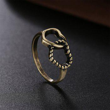 Creative Vintage Hollow Out Double Heart Ring Charm Jewelry - BRONZE US SIZE 9