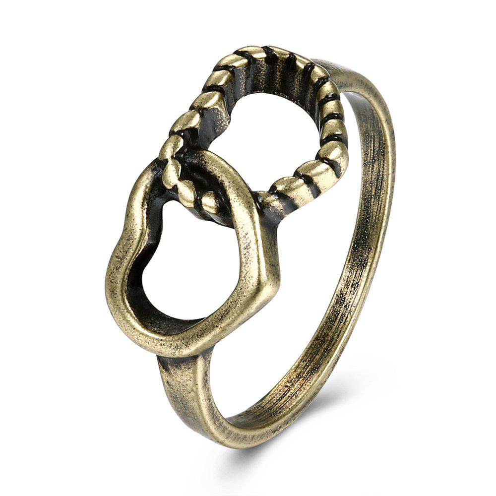 Creative Vintage Hollow Out Double Heart Ring Charm Jewelry - BRONZE US SIZE 7