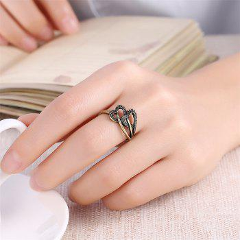 Vintage Romantic Hollow Out Double Heart Ring - BRONZE US SIZE 7