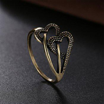 Vintage Romantic Hollow Out Double Heart Ring - BRONZE US SIZE 9