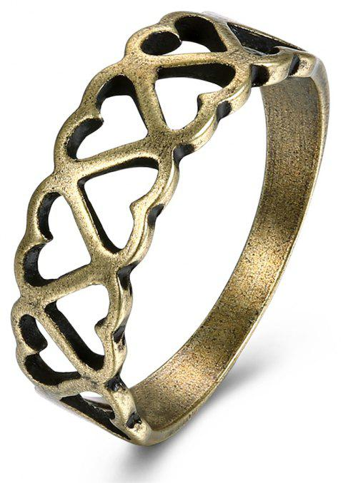 Vintage Hollow Out Heart Ring Charm Jewelry - BRONZE US SIZE 7