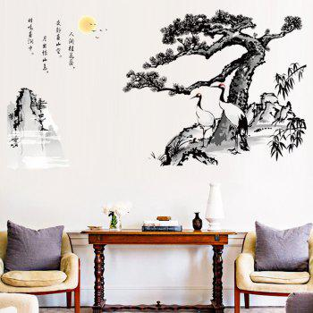 Removable Ink Guest-greeting Pine for Sofa TV Background Wall Sticker Decoration - multicolor