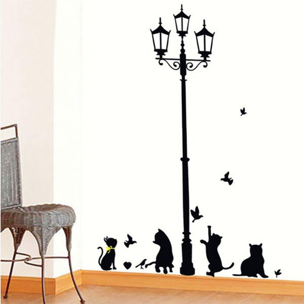 1PC Black Cats Playing under The Streetlight Kindergarten Cartoon Wall Sticker - BLACK