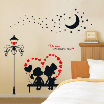 1PC Removable Children Room Kindergarten Cartoon Lovers Wall Sticker Decoration - BLACK