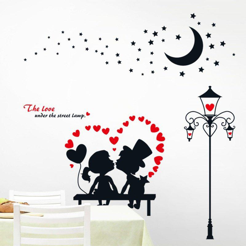 1PC Removable Children Room Kindergarten Cartoon Lovers Wall Sticker Decoration home decoration removable quote wall art sticker