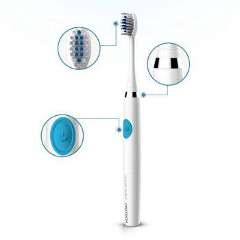 Waterproof Electric Toothbrush with Replacement Heads - WHITE