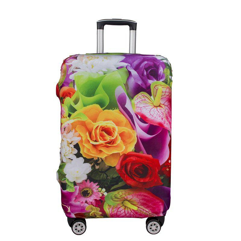 Colorful Flower Elastic Protective Luggage Cover - multicolor A L