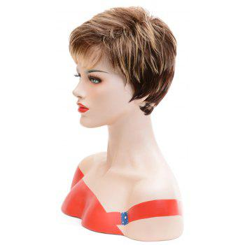 Fashion Blonde Brown Mixed Short Straight Synthetic Hair Wigs for European Women - LIGHT BROWN 8INCH
