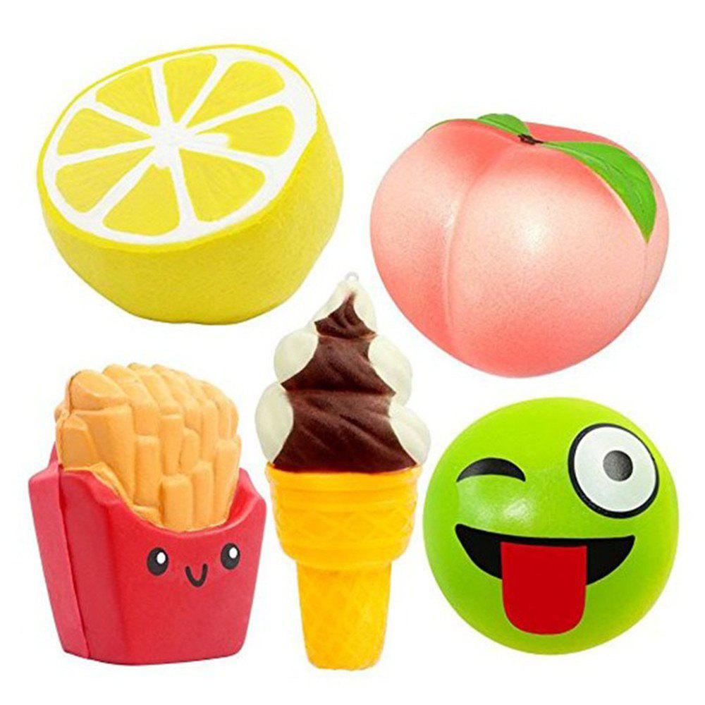 Jumbo Squishy Slow Rebound Toy PU Simulation Fruit Food 5PCS realistic pineapple pu foam fruit squishy toy