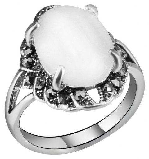 PULATU Women's Classic Four-Prong Opal Rhinestone Ring - MILK WHITE US SIZE 9