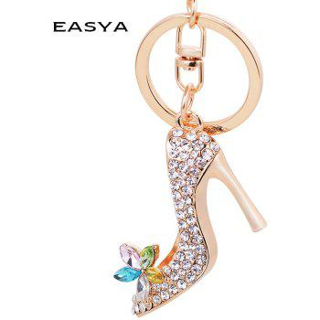 EASYA Fashion Rhinestone High Heeled Shoe Keyring Crystal Shoes Keychains - multicolor
