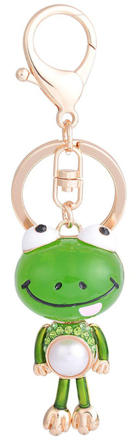 Cartoon Frogs Keychain High Grade Rhinestone Key Ring Women Bag Accessories Big - GREEN APPLE