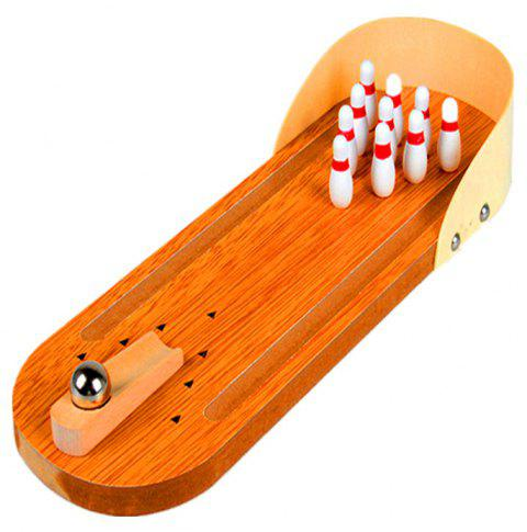 Wooden Mini Bowling Parent-child Interactive Decompression Creative Board Game - multicolor