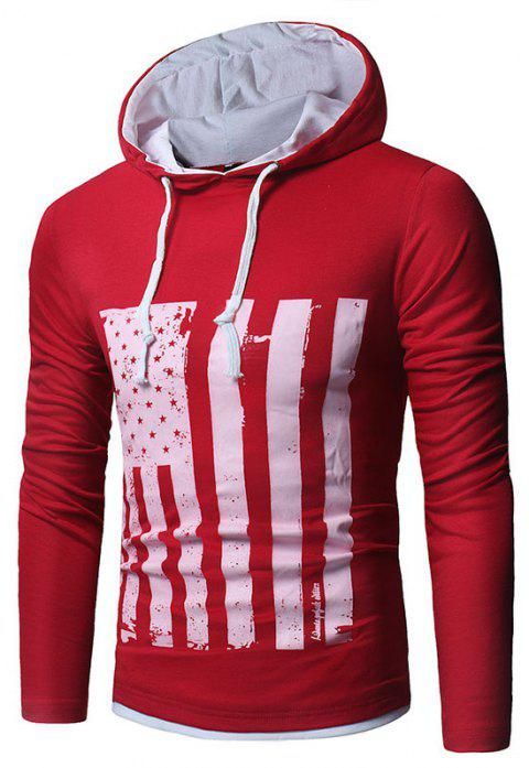 Men's New National Flag Fashion Print Hoodie - RED XL