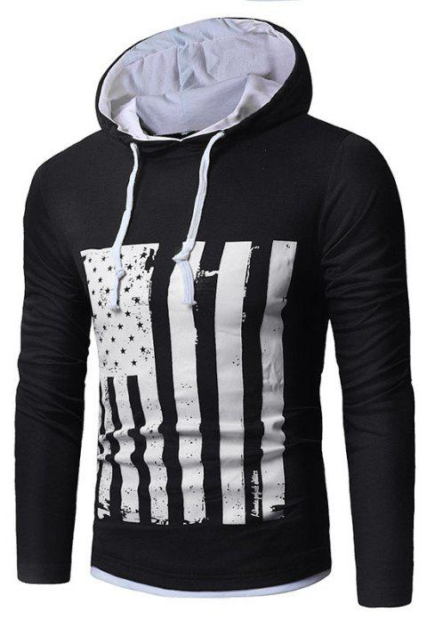 Men's New National Flag Fashion Print Hoodie - BLACK M
