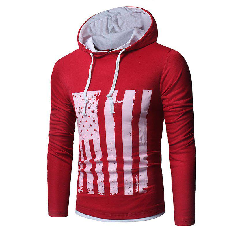 Men's New National Flag Fashion Print Hoodie - RED L