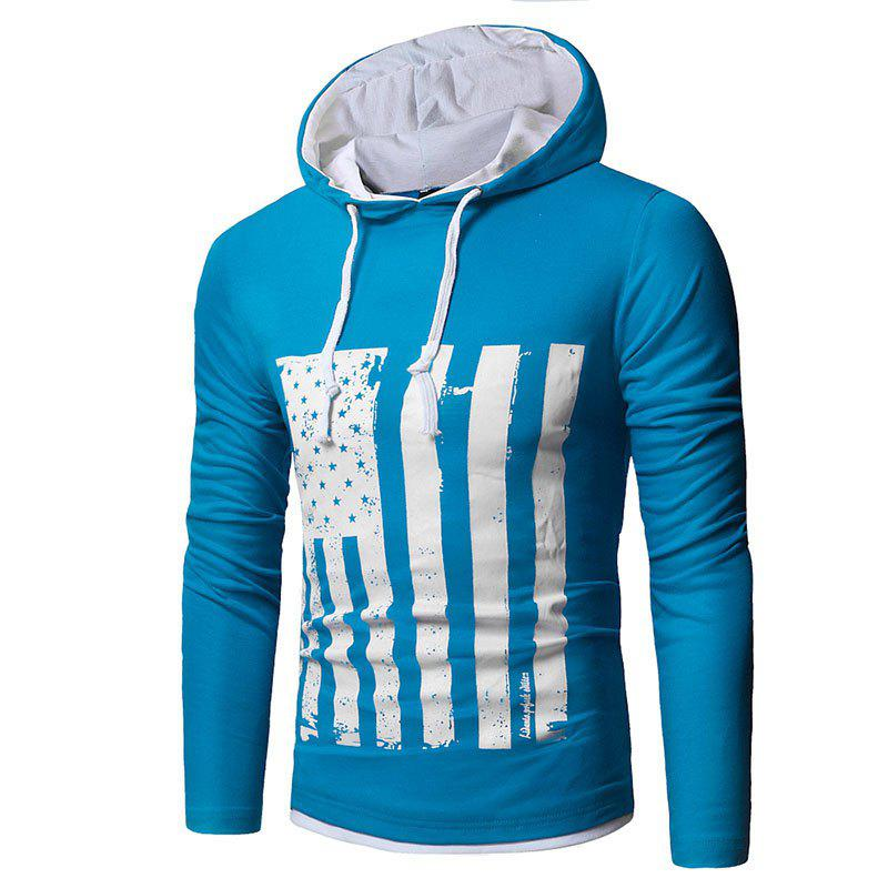 Men's New National Flag Fashion Print Hoodie - BLUE LAGOON XL