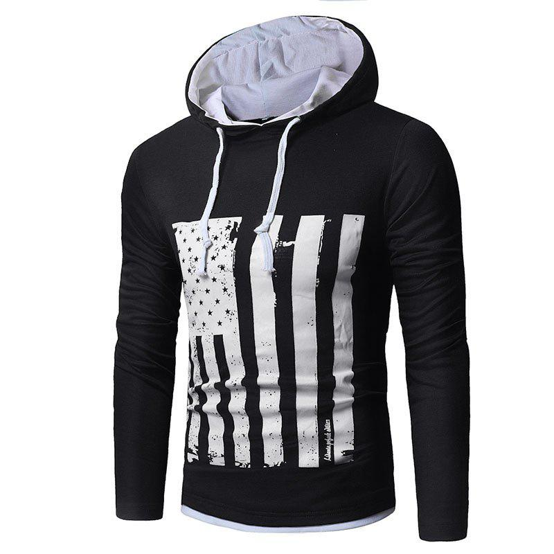 Men's New National Flag Fashion Print Hoodie - BLACK L