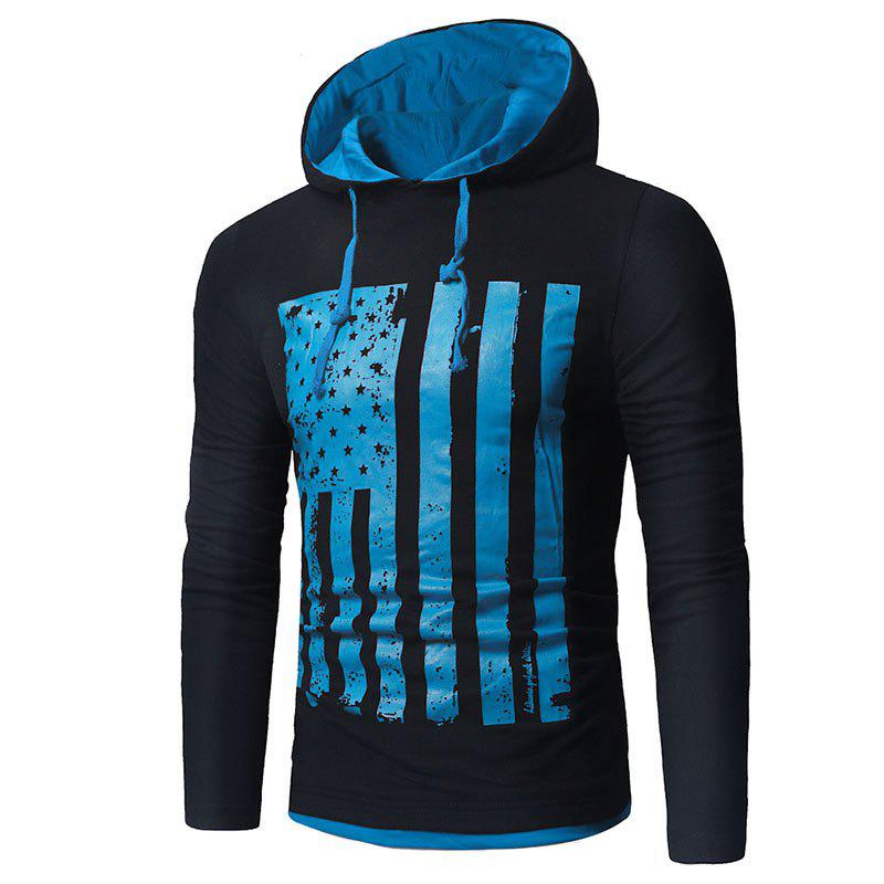 Men's New National Flag Fashion Print Hoodie - NATURAL BLACK 2XL