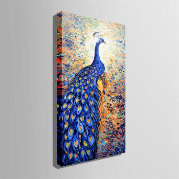 Special Design Frame Paintings Blue Peacock Print - multicolor 12 X 35 INCH (30CM X 90CM)
