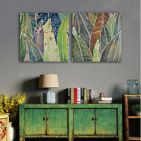 Special Design Frame Paintings Banana Leaf Print 2PCS - multicolor 16 X 16 INCH (40CM X 40CM)