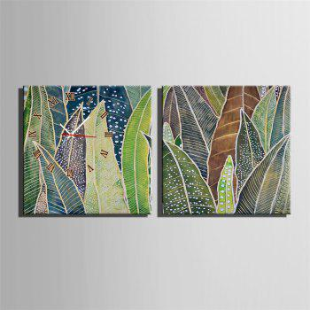 Special Design Frame Paintings Banana Leaf Print 2PCS - multicolor 20 X 20 INCH (50CM X 50CM)