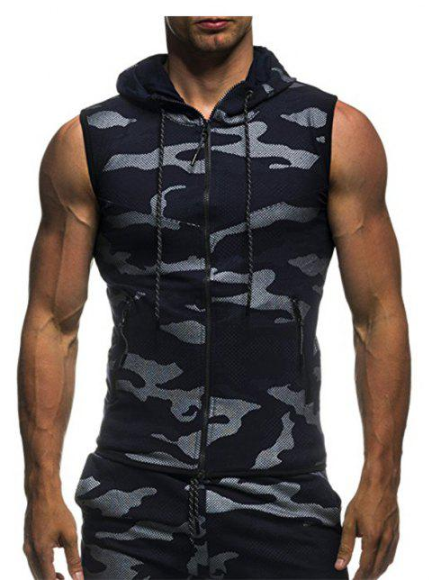 2018 New Camouflage Digital Printing Zipper Casual Slim Sleeveless Hoodie - DEEP BLUE XL