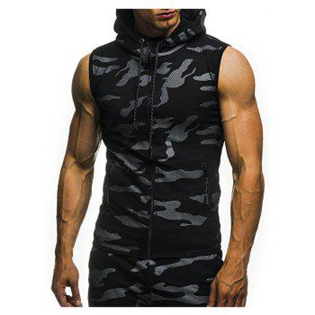 2018 New Camouflage Digital Printing Zipper Casual Slim Sleeveless Hoodie - BLACK 3XL