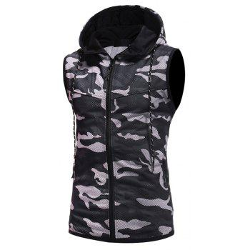 2018 New Camouflage Digital Printing Zipper Casual Slim Sleeveless Hoodie - BLACK 2XL