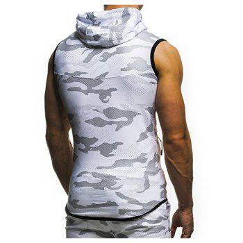 2018 New Camouflage Digital Printing Zipper Casual Slim Sleeveless Hoodie - WHITE XL