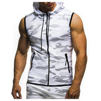 2018 New Camouflage Digital Printing Zipper Casual Slim Sleeveless Hoodie - WHITE L