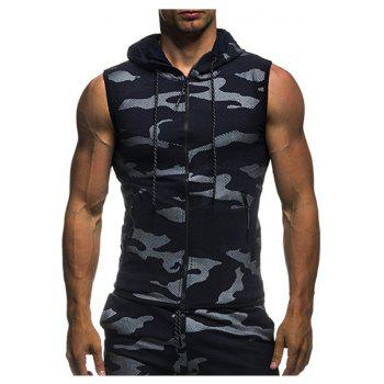 2018 New Camouflage Digital Printing Zipper Casual Slim Sleeveless Hoodie - DEEP BLUE M