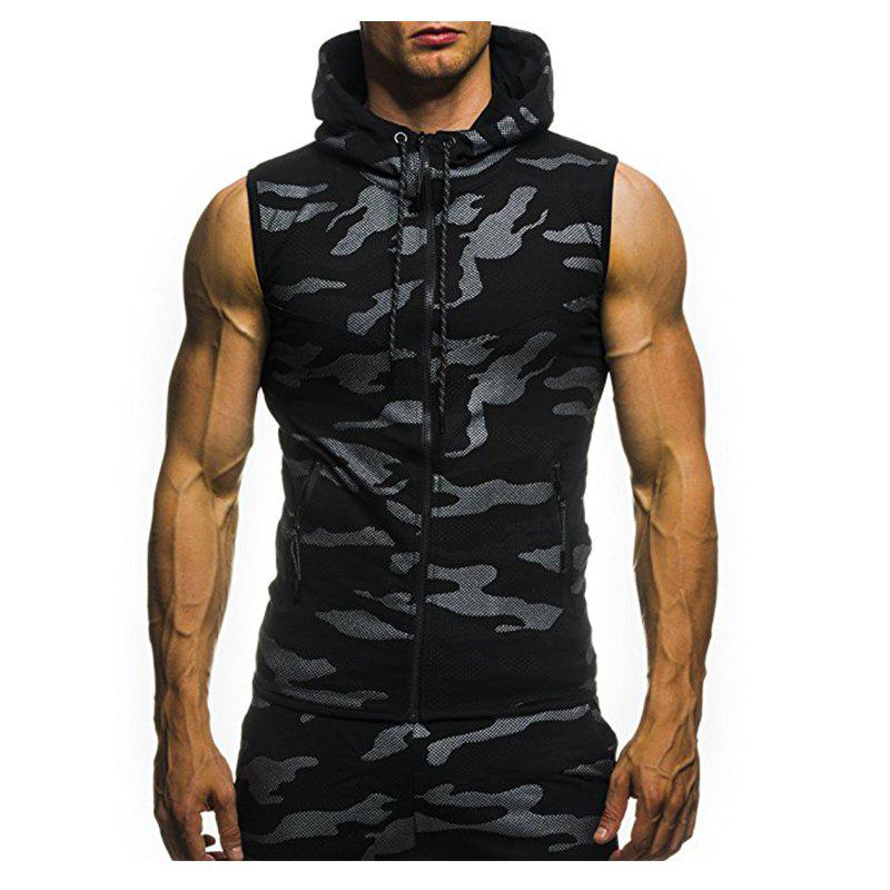 2018 New Camouflage Digital Printing Zipper Casual Slim Sleeveless Hoodie - BLACK M